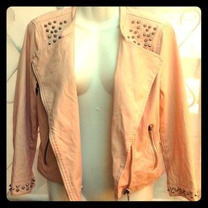 Peach Punk Rock 80's Style Leather Jacket